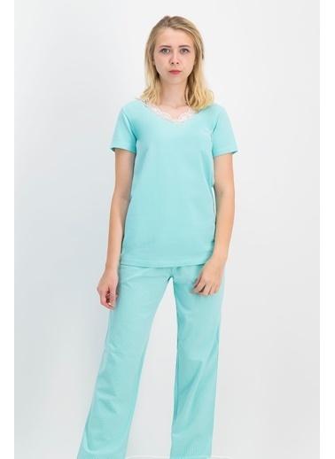 Pierre Cardin Pierre Cardin Kadın Pijama Takımı Mint Yeşili Yeşil
